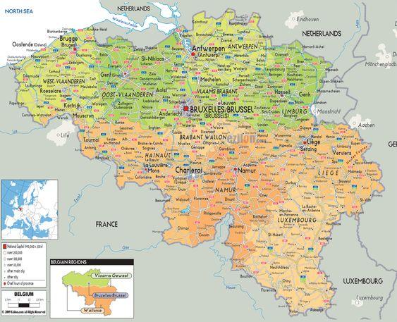 Political Map of Belgium Ezilon Maps – Belgium Provinces Map