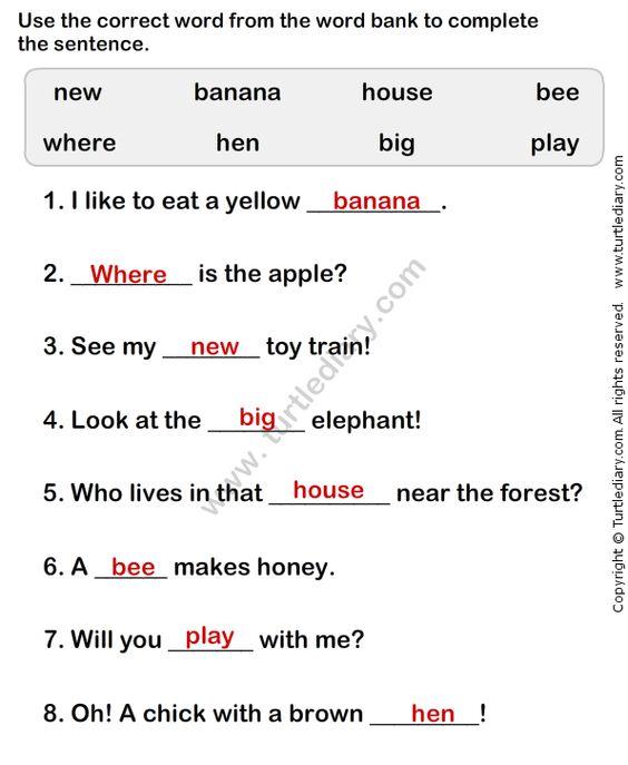 Free Worksheets Simple Sentences Worksheets For Kindergarten – Sentence Worksheets for Kindergarten