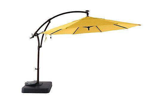 Hampton Bay 11 Ft Offset Solar Patio Umbrella With Base Daffodil Yellow The Home Depot Canada Outdoor Umbrella Patio Umbrella Offset Umbrella