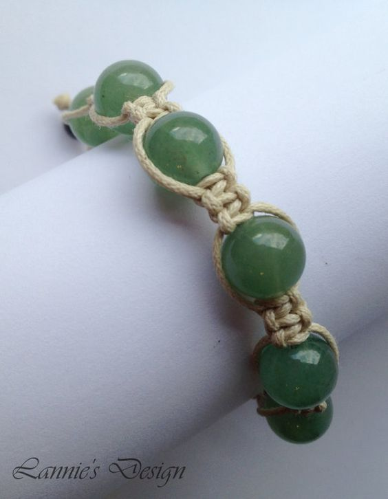 Green Adjustable Unisex Bracelet with Jade Gemstones // Free Shipping within USA