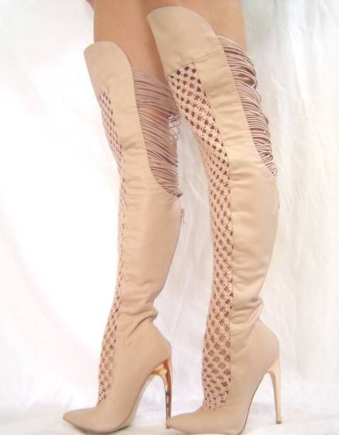 Details about New BEBE Harley Thigh High Boots Beige 5 7 Shoes ...