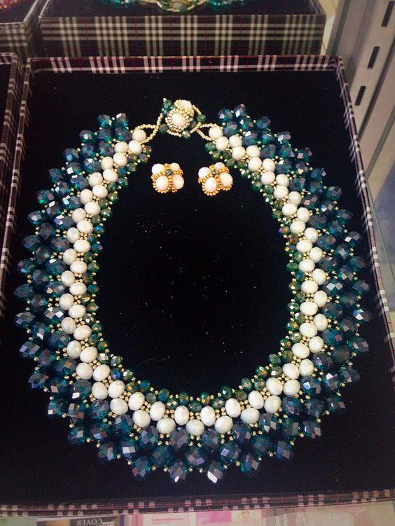 $80.00 handmade, crochet, beaded necklace and earring set Instagram: @TheGlamTeam