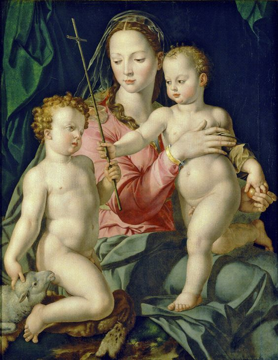 Bronzino - Madonna with child Jesus & Saint John the Baptist (1540-60):
