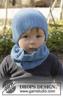 """Bluebeard - Set consists of: Knitted DROPS neck warmer and hat with textured pattern st in """"Nepal"""". Size 1 - 10 years - Free pattern by DROPS Design"""