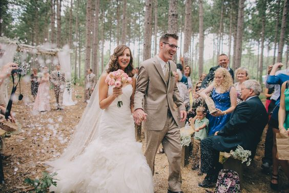 confetti birch arch tree grove outdoor wedding wisconsin romantic venue unique vintage lace mason jars flowers navy farm woods woodsy pines rustic ceremony Burlap and Bells | Gallery  www.burlapandbells.com