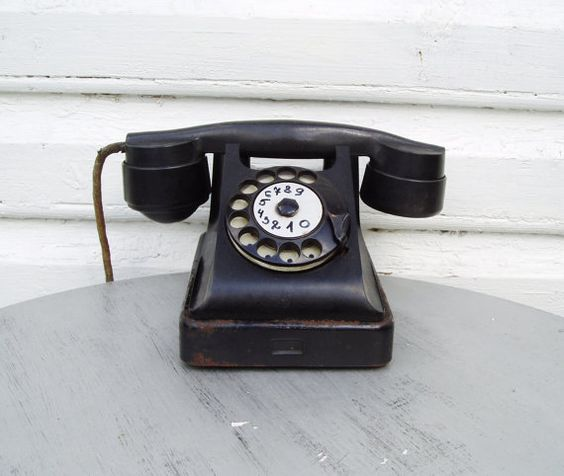 Rotary Telephone Black Bakelite Antique Desk by MerilinsRetro, $59.00 - Rotary Dial Telephone, Black Bakelite, Antique Desk Phone, Soviet