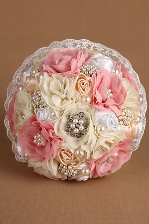 Pearl Crystal Roses Flower Girl Wedding Bridal Corsage Bouquet 27