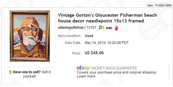 Needlepoint - Fisherman of Gloucester - $3 at garage sale, sold for $45 plus shipping