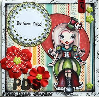I used the Pixie Dust Studio Circus Pixie for this card.   The sentiment is from the Scrapbooking Queen's collection!<3