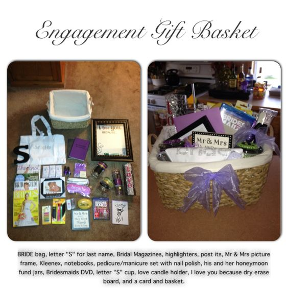 Wedding Gift Ideas Sister To Brother : Engagement gift baskets, Gift baskets and Baskets on Pinterest