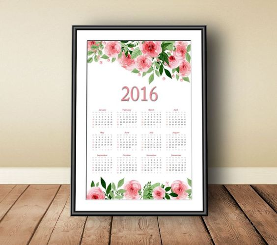 Calendar 2016, Digital download, instant download, printable art, annual calendar 2016, floral print art, watercolor print art, 2016 print - pinned by pin4etsy.com