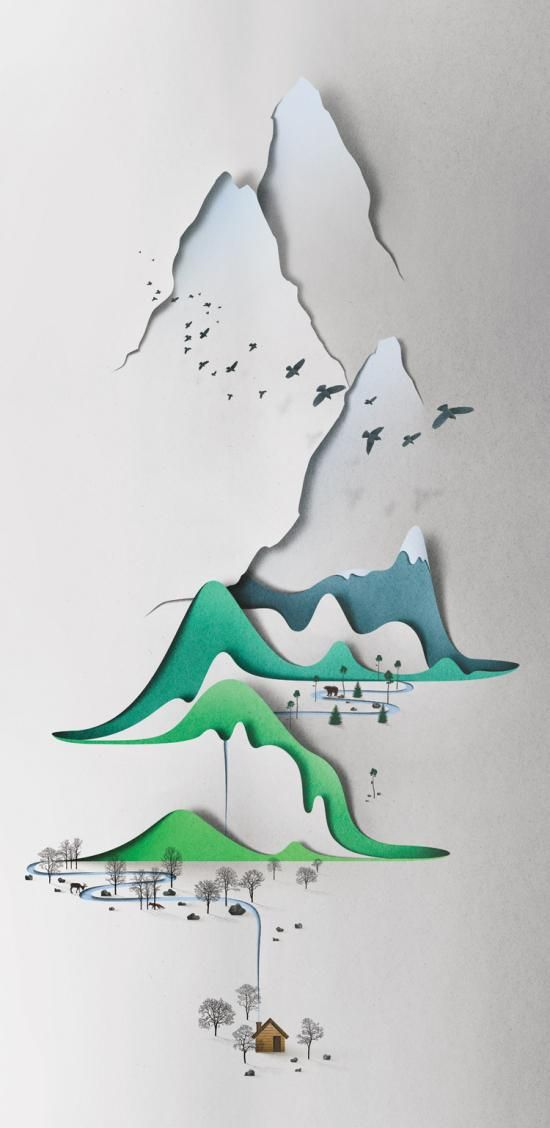 Inner page of Paper Cut showing work by Eiko Ojala
