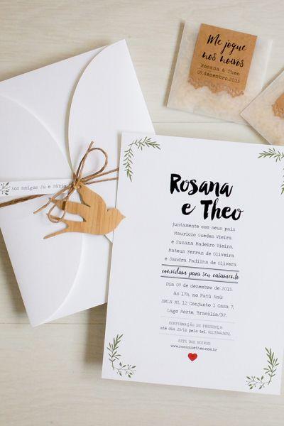 Convite 16x22cm em Rives Linear Bright White 250g/m² com dobra, cinta de tecido de algodão […]:
