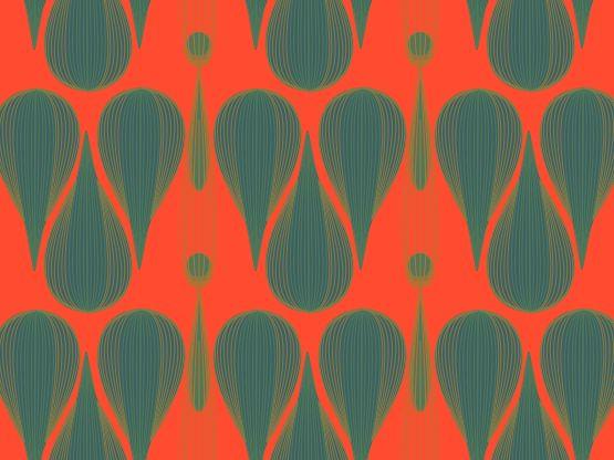 """Untangled Fractals"" by Penina Untangled Fractals, avocado, green, orange, penina, red, rust, turquoise"