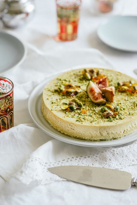 Rosewater Cheesecake with Pistachio Praline & Figs