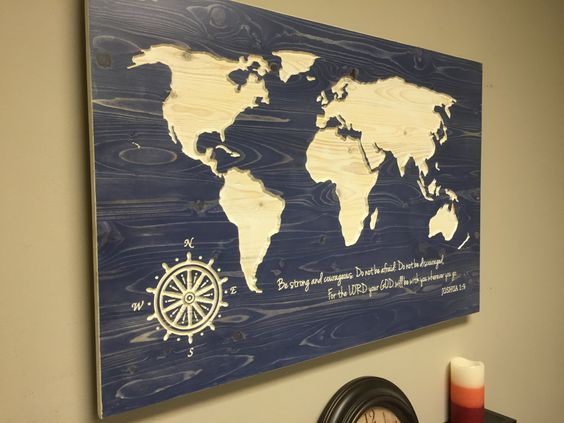 World map wall art, spiritual, Vintage Carved Wood Map, modern ...