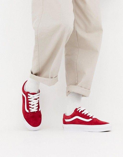 Vans Red Suede Old Skool Sneakers