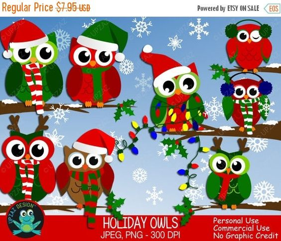 75% OFF SALE Christmas Owl Clipart Commercial Use Holiday by Upzaz