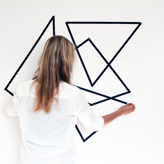DIY geometric wall deco idea using washi tape