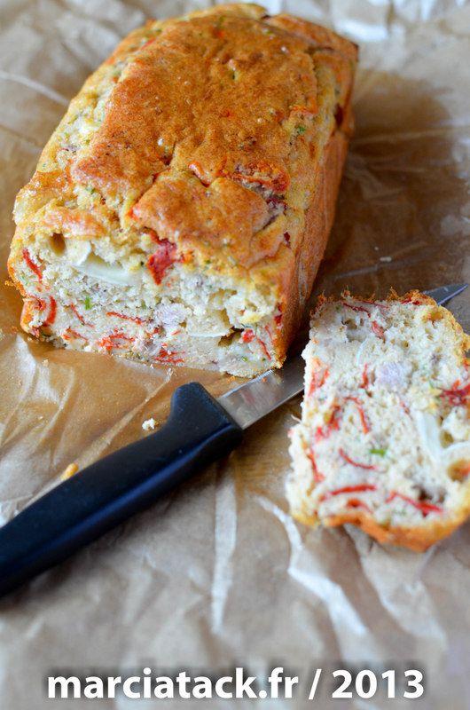 Cake au thon, chèvre et poivron rouge - Recette - Marcia Tack