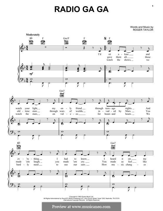 Radio Ga Ga Queen With Images Sheet Music Free Guitar Sheet