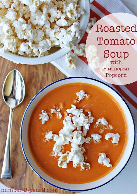 Roasted Tomato Soup with Parmesan Popcorn via @no2pencilblog