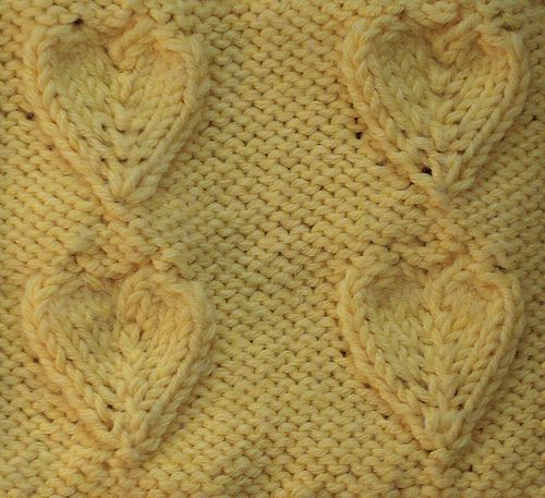 Knitting Heart Stitch Pattern : Embossed Heart Heart, Knit stitches and Patterns