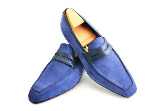Blue Suede Loafers Slip Ons Shoes