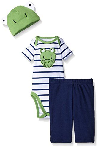 Gerber Baby Three-Piece Bodysuit Pant Set with Cap, Frog,...