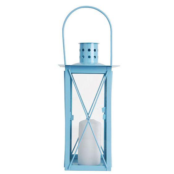 עששית נר מעוצבת, עשויה זכוכית ומתכת, בצבע תכלת, דגם RF41 Esschert Design