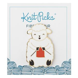 Knitting Sheep Enamel Pin: