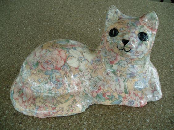 Vintage Floral Ceramic Cat  80s Belkin Home by LuLusVintageMart, $10.00