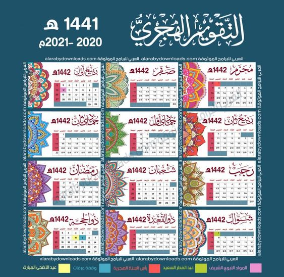 تحميل التقويم الهجري 1442 صورة Pdf كامل مع الاجازات للكمبيوتر والجوال Hijri Calendar Print Calendar Ramadan Poster