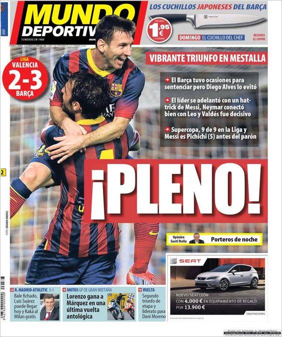 Los Titulares y Portadas de Noticias Destacadas Españolas del 2 de Septiembre de 2013 del Diario Mundo Deportivo ¿Que le pareció esta Portada de este Diario Español?