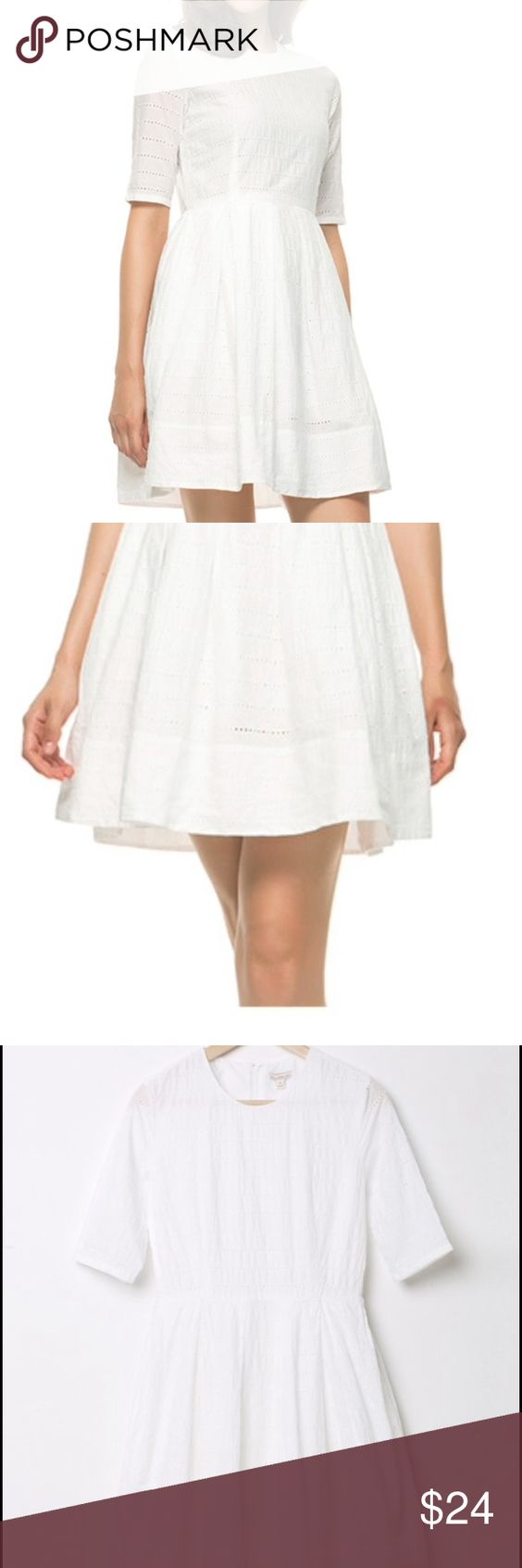Adorable White Eyelet Dress White eyelet dress right on trend with a cut that looks great on everyone. Only worn once for a summer white dinner. 100% cotton lined with a cotton slip so that nothing shows through. Gap Dresses Midi