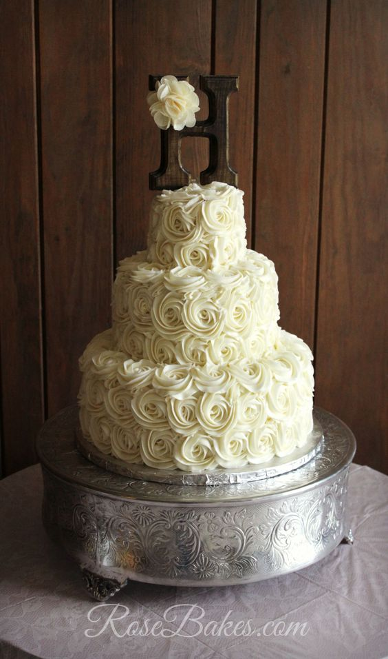 Rustic Buttercream Roses Wedding Cake with Monogram topper