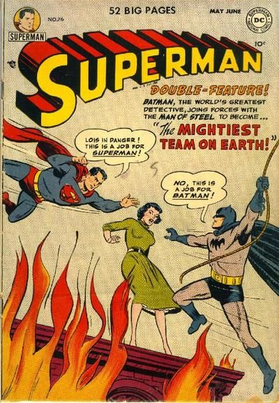 BAT-HISTORY, JUNE 1952: Despite sharing the pages of World's Finest Comics and teaming up several times for the Superman radio program, DC's two greatest heroes never truly worked together in print form until Superman #76. While enjoying a cruise as their alter egos, they end up sharing a cabin and each discovers the other's secret identity when they suit up to save Lois Lane from a fire. Despite some friendly initial competition for her affections, the two heroes quickly become fast…