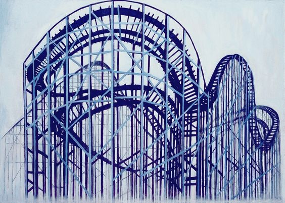 Een achtbaan van structuur, statische verticalen ontmoeten een organische en dynamische rups van diagonalen.