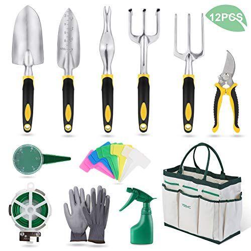 Yissvic Garden Tools Set 12 Piece Heavy Duty Gardenin Kit Cast