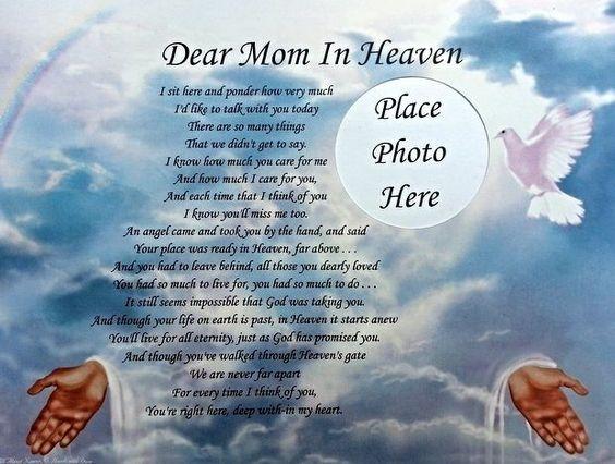 Dear mom in heaven memorial poem in loving memory of ...