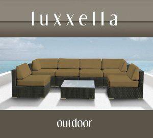 Genuine Luxxella Outdoor Patio Wicker Sofa Sectional Furniture BELLA 7pc Gorgeous Couch Set DARK BEIGE