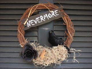Dollar Store Design School with - The Savings Spot  Halloween Wreath, Nevermore, Based on Edgar Allan Poe's The Raven