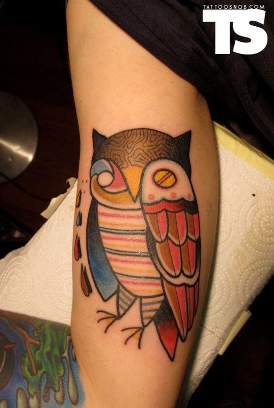 vintage patterned owl tattoo