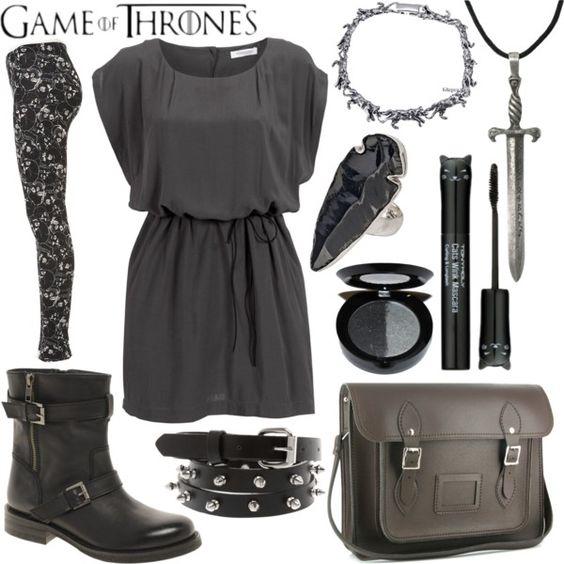 """GOT - Arya Stark"" by alayaya on Polyvore: Geek Chic Fashion, Fashion Outfit Inspiration, Game Of Thrones Outfits, Fashion Styles, Polyvore Outfits, Dress Skirt Style, Fashion Inspiration, Fashion Desgn"