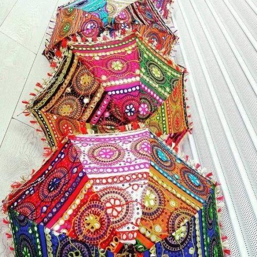 Wholesale Indian Wedding Umbrella Floral Designer Outdoor Decorations Party Decorations Cotton Fabric Mirror Work Vintage Parasols Umbrellas