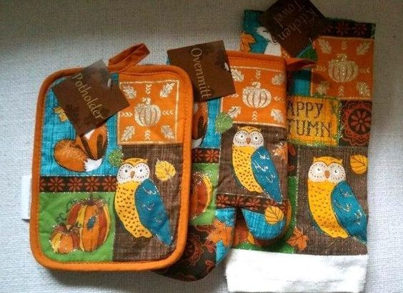 Autumn Animals Kitchen Set 3 Towel Potholder Oven Mitt Fall Pumpkins #Nantucket