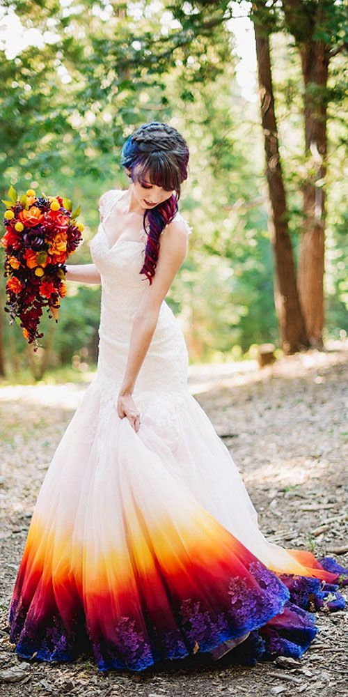 Queen Ann Trumpet Colorful Wedding Dresses James Tang Dip Dye Wedding Dress Wedding Dress Organza Dye Wedding Dress