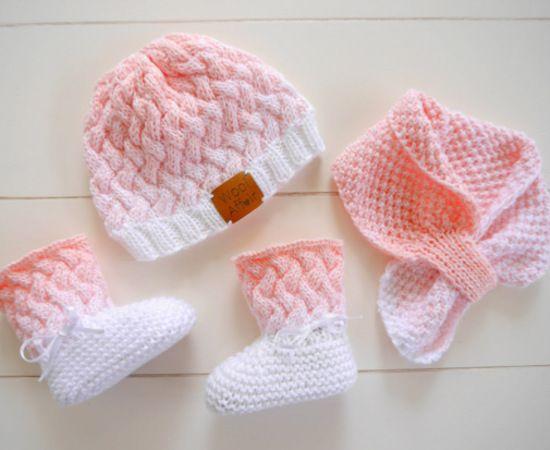 Strickanleitung Babymütze, Babyschuhe, Babyschal OMBRÉ