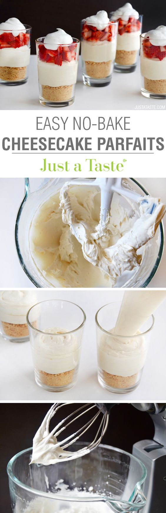 Easy No-Bake Cheesecake Parfaits recipe via justataste.com