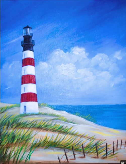 from Uptown Art  (I like the lighthouse and the fence.  The shape of the beach and the perfect lines of grass seem off.